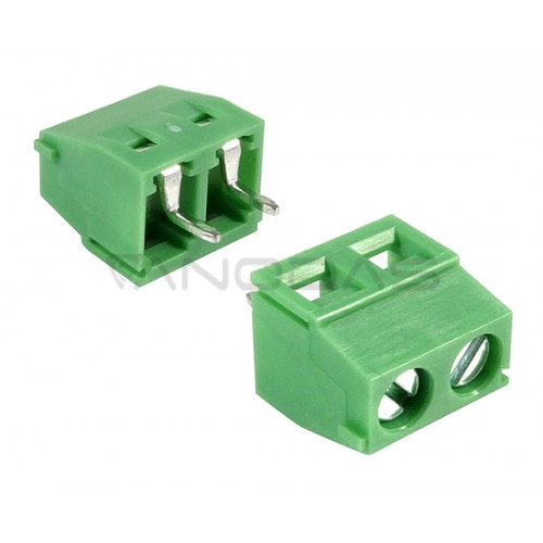 2 poles pitch 5.00mm height 10.2mm green colour