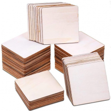 Plywood 3mm 75x75 mm - rounded Board for carving and laser cutting