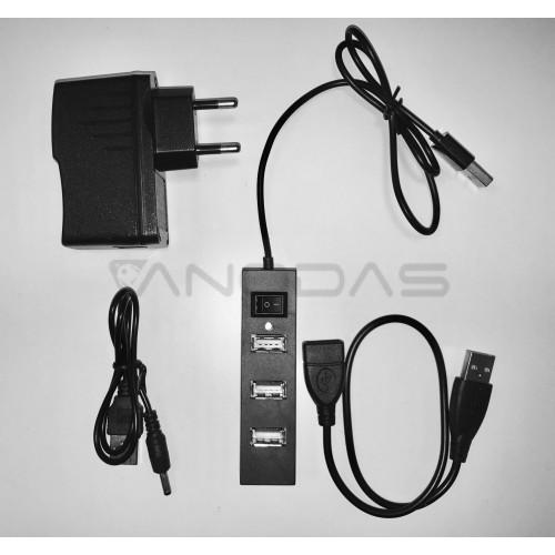 4 Lizdų USB Šakotuvas Su Maitinimo Bloku Ir Priedais