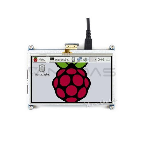 "Raspberry Pi liečiamas ekranas 4.3"" LCD TFT (480x272px) - HDMI + GPIO"