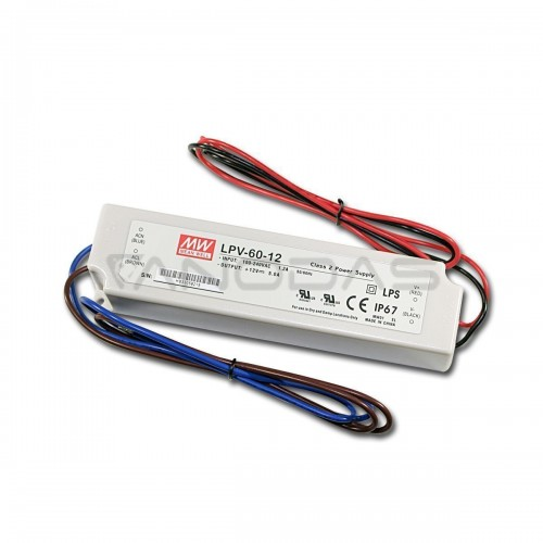 MEAN WELL Maitinimo Šaltinis 60W 12VDC 5A 90÷264VAC IP67