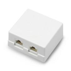 2x RJ45 surface socket - white