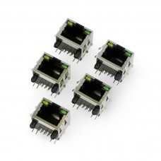 8P8C RJ45 network socket, shielded with LEDs - 5 pcs,