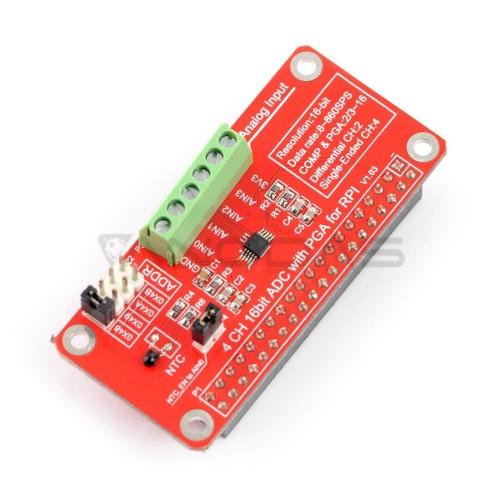 ADC 16 bitų keitiklis - 4 kanalų ADS1115 - Raspberry Pi