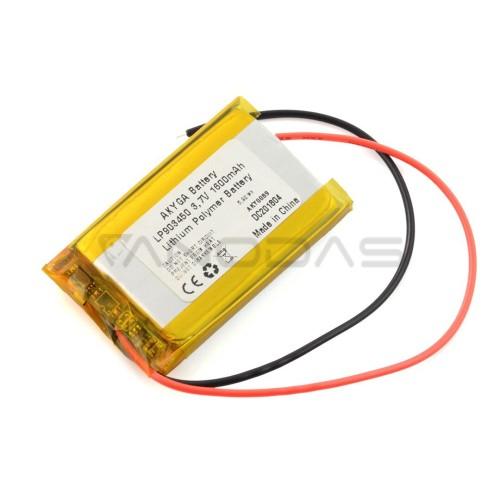 Akyga 3.7V 1S 1600mAh Li-Pol akumuliatorius - 50x34x9mm