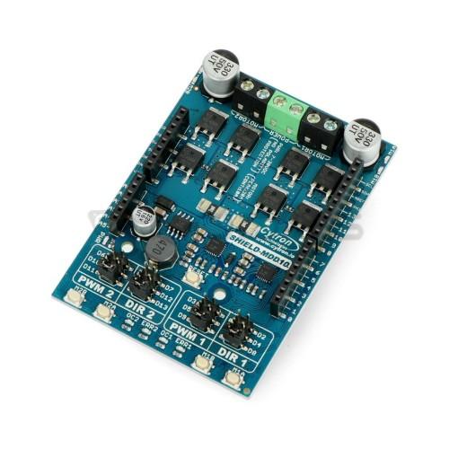 Cytron Shield-MDD10 - 2 kanalų nuolatinės srovės variklio tvarkyklė 7V-30V / 10A - Arduino