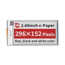 """E-paper E-Ink ekranas, 2.66"""" 296x152px, SPI, juodas, raudonas, baltas, skirtas Raspberry Pi Pico, Waveshare 20053"""