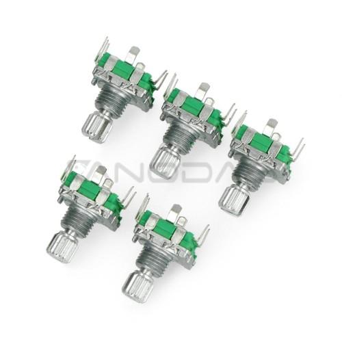 Enkoderis su mygtuku - 20 impulsų 12mm - EC11 vertikalus - x5