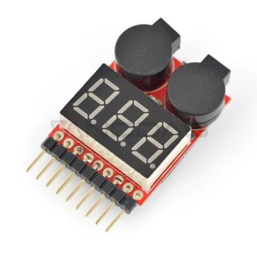Li-Pol 1-8S įtampos indikatorius su P309 garsiniu signalu