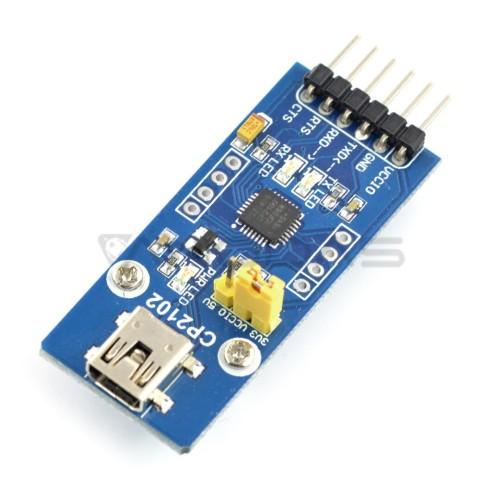 Keitiklis USB-UART CP2102, miniUSB prievadas, Waveshare 8085
