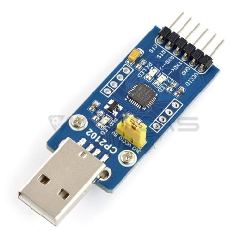 USB-UART keitiklis CP2102, USB kištukas, Waveshare 11079
