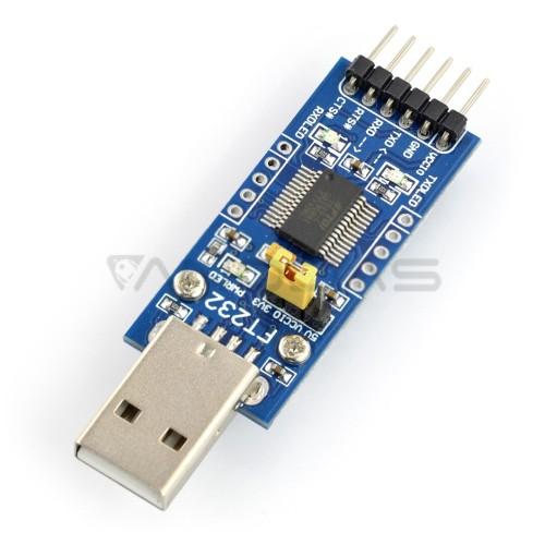 Keitiklis USB-UART FTDI FT232RL, USB kištukas, Waveshare 6170