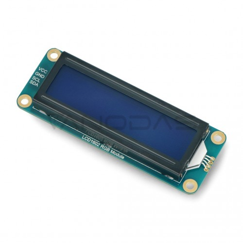 LCD1602 I2C ekranas 2x16 simbolių, spalvotas, RGB apšvietimas, Waveshare 19537
