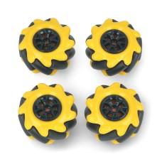 Mecanum ratų rinkinys, 48mm, x4, juodas/geltonas su volais, DFRobot FIT0662-1