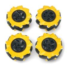 Mecanum ratų komplektas, 80mm, x4, juodas/geltonas su volais, DFRobot FIT0654-1