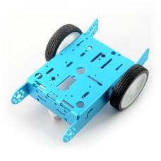 Mėlyna, metalinė važiuoklė 2WD 2 ratai su DC varikliu