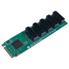 PCIe 3.0x2 M.2 NGFF Key B to SATA 3.0 6Gb/s converter, 5 ports, JMB585, for Odyssey-X86J4105, Seeedstudio 103990543