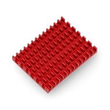 Radiatorius 40x30x5mm skirtas Raspberry Pi 4 su termolaidžia juosta - raudonas