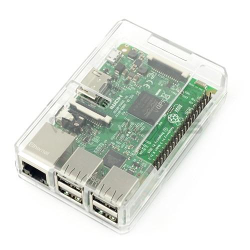 Raspberry Pi modelio 3B+/3B/2B dėklas, permatomas su GPIO prieiga