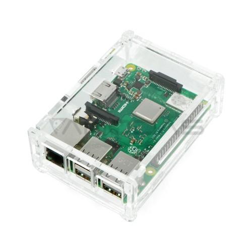 Raspberry Pi modelio 3B+/3B/2B dėklas, permatomas su dangteliu