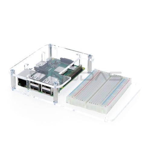 Raspberry Pi modelio 3B+/3B/2B dėklas su vieta maketavimo plokštei, permatomas