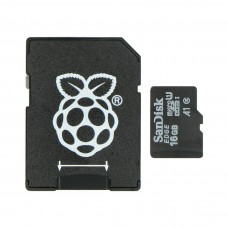 SanDisk atminties kortelė microSD 16GB 10 klasės (su adapteriu) + Raspbian NOOBs, skirta Raspberry Pi 4B/3B+/3B/2B