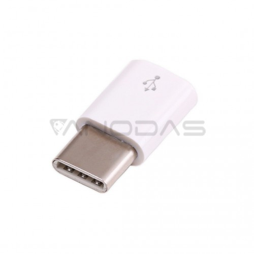 USB micro-B - USB-C, originalus Raspberry Pi 4 adapteris, baltas