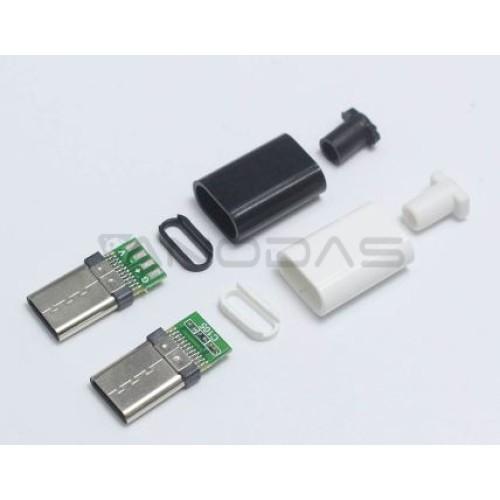 Lituojamas USB-C Kištukas su korpusu baltas