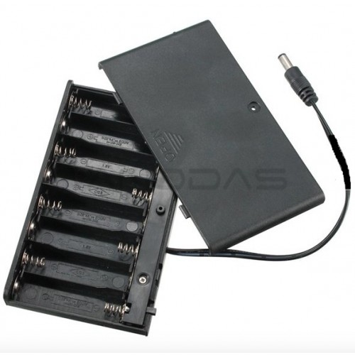 Battery holder 8xAA with lead wire and closed housing + switch