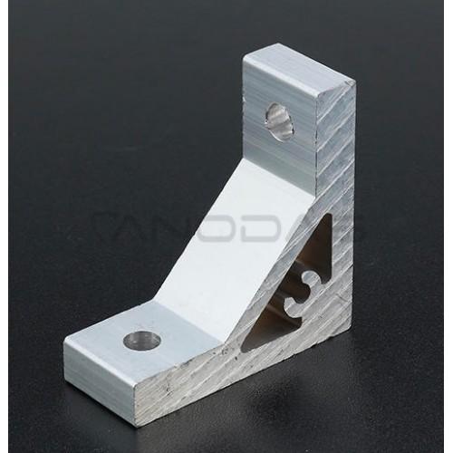 Kampinis laikiklis skirtas 2020 aliuminio profiliams - 53x53x18mm