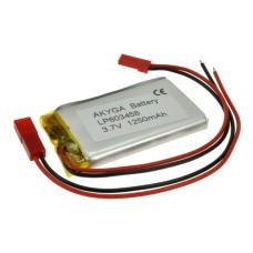 Akumuliatorius Li-Pol Akyga 1250mAh 1S 3.7V - Jungtys JST-BEC + Lizdas