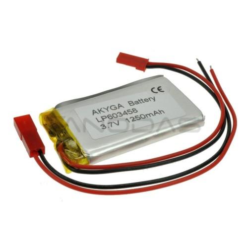 Battery Li-Pol Akyga 1250mAh 1S 3.7V - Connectors  JST-BEC + Socket