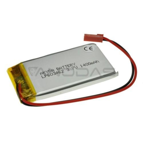 Akumuliatorius Li-Pol Akyga 1400mAh 1S 3.7V - Jungtys JST-BEC + Lizdas