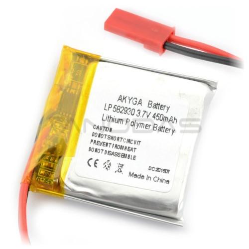 Akumuliatorius Li-Pol Akyga 450mAh 1S 3.7V - jungtys JST-BEC + lizdas