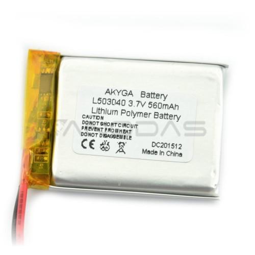 Battery Li-Pol Akyga 560mAh 1S 3.7V