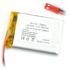 Akumuliatorius Li-Pol Akyga 600mAh 1S 3.7V - jungtys JST-BEC + lizdas