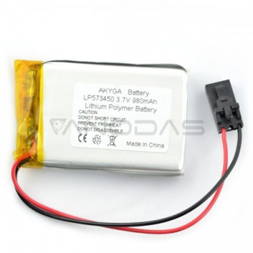 Battery Li-Pol Akyga 980mAh 1S 3.7V - 3 Wires