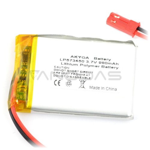 Battery Li-Pol Akyga 980mAh 1S 3.7V - Connectors JST-BEC + Socket