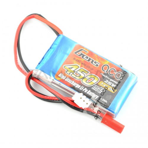 Battery Li-Pol Gens Ace 450mAh 25C 2S 7.4V