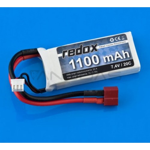 Battery Li-Pol Redox 1100mAh 30C 2S 7.4V