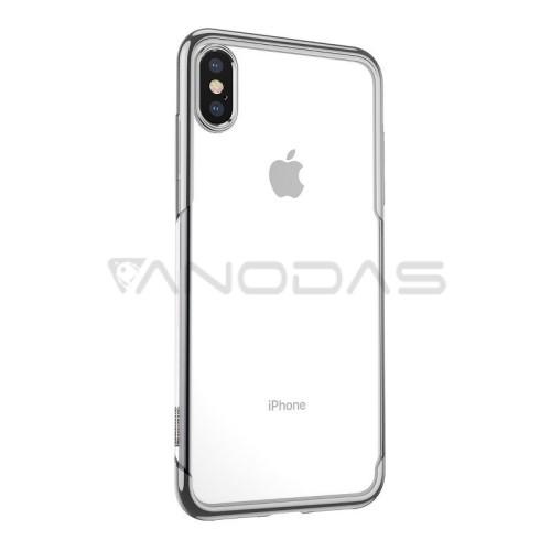 Baseus dėklas iPhone X / XS - skaidrus / sidabrinis