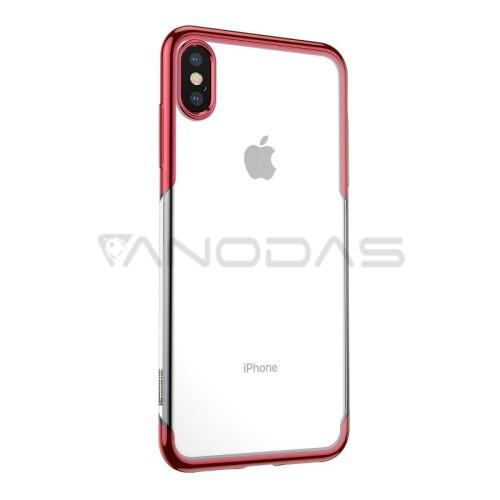 Baseus dėklas iPhone X / XS - skaidrus / raudonas