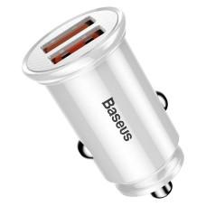 Baseus Circular Car Charger 2xUSB QC3.0 5A 30W - White