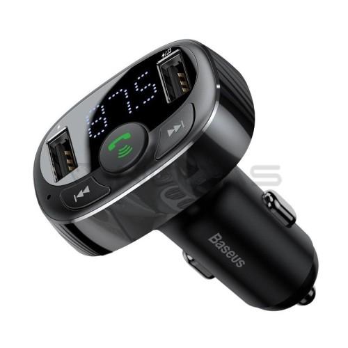 Baseus FM moduliatorius Bluetooth 2xUSB microSD - Juodas