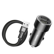 Car Charger + Baseus Small Screw USB-C Cable 2xUSB 3.4A - Black