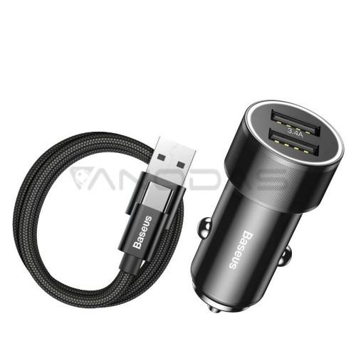 Automobilinis įkroviklis + Baseus USB-C kabelis 2xUSB 3.4A - Juodas