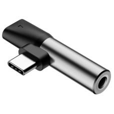 Baseus Audio adapteris L41 USB-C prie 3.5mm lizdo + USB-C - Sidabrinis