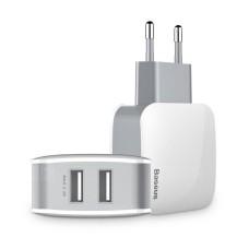 Baseus Leteur įkroviklis 2x USB 2.4A - Baltas / Pilkas