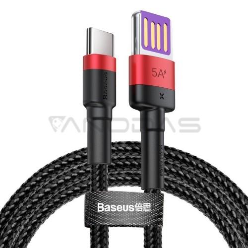 Baseus Cafule USB-C kabelis Huawei SuperCharge QC 3.0 5A 1m - Juodas / Raudonas