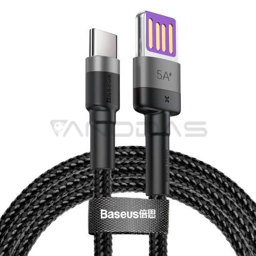 Baseus Cafule USB-C kabelis Huawei SuperCharge QC 3.0 5A 1m - Juodas / Pilkas